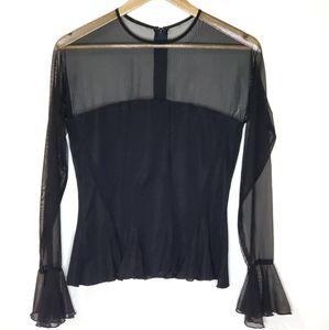 Joseph Ribkoff Trends Sheer Black Top Size 10